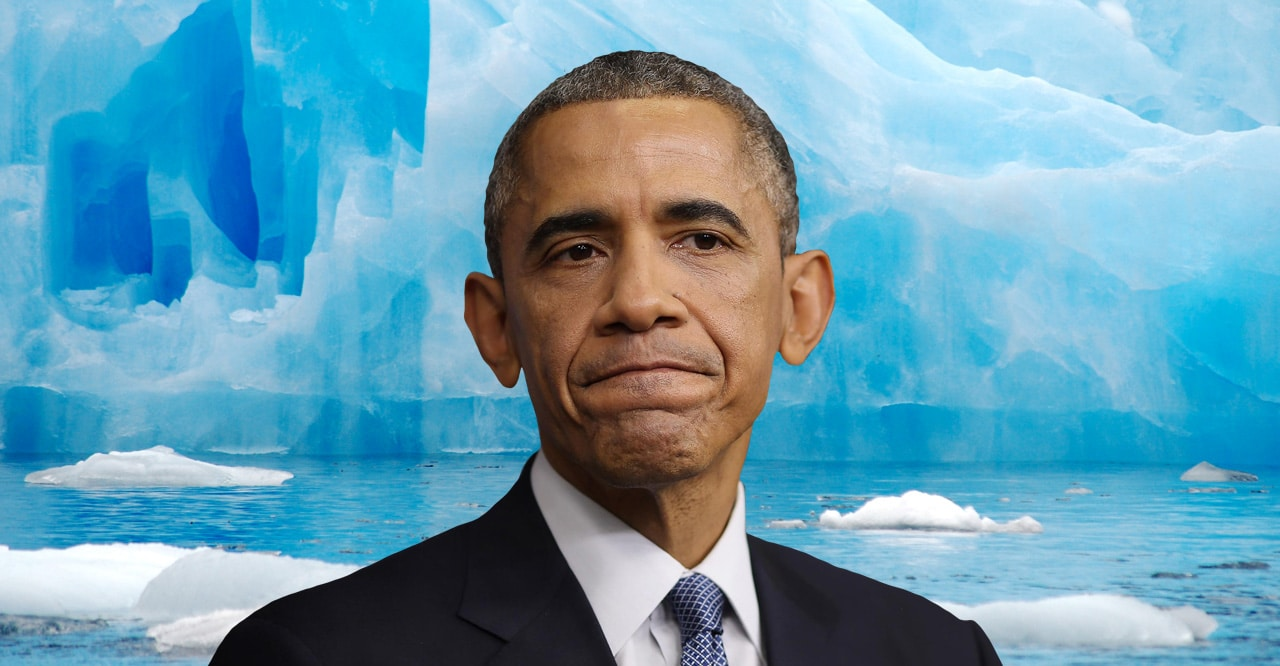 President Obama frowning with an iceberg superimposed behind him