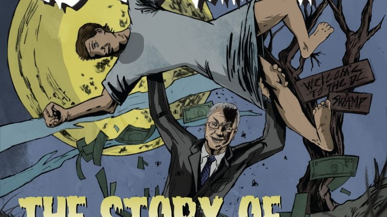 """the cover of """"Out of the Ooze,"""" a graphic novel. The cover shows a cartoon version of Tom Price holding up a man in a hospital gown in front of a big full moon, in the style of an old horror movie poster."""