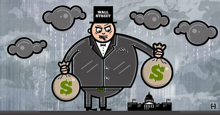 "a cartoon showing a giant man in a tuxedo standing over the Capitol building in Washington DC. The man wears a suit and a top hat, and the top says ""Wall Street"" on it. He is holding two big bags with dollar signs on them, and has a cigar in his mouth. He is looking at the Capitol with a villainous smile, like he knows his bribes are working."