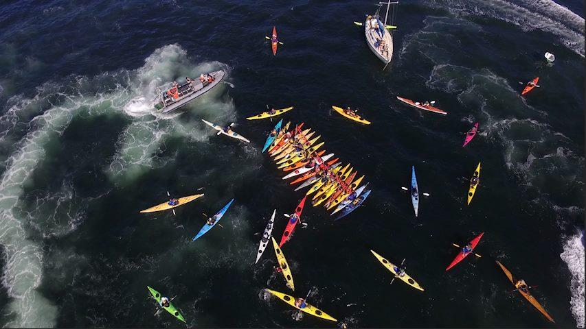Activists training in Kayak, sailing and powerboat skills at the Oil-Free Salish Sea Action Camp