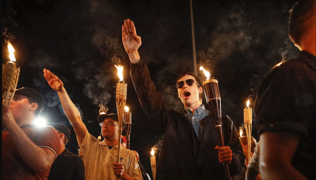 Emboldened Neo-Nazis in Charlottesville didn't even bother to bring their standard issue klan hoods