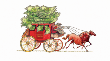 A cartoon drawing of the Wells Fargo stagecoach, but it's overflowing with dollar bills