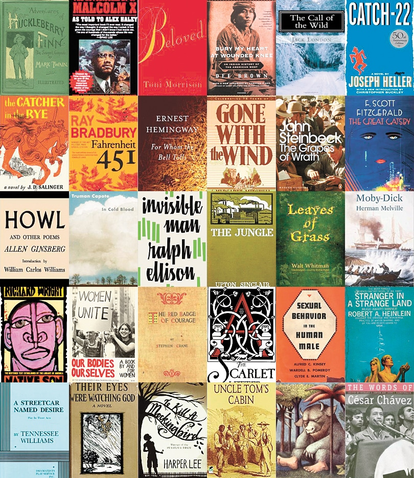 Collage of common banned books, including books by Malcolm X, Mark Twain, Toni Morrison, Ray Bradbury, and Harper Lee