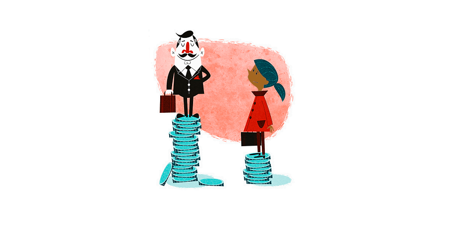 A cartoon drawing of a white man in a business suit standing on a pile of coins. Next to him is a black woman standing on a much smaller pile of coins.