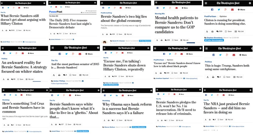 A screenshot showing 15 negative headlines the Washington Post published about Bernie Sanders in a 16 hour period.