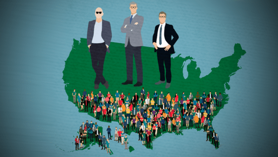 an illustration of three billionaires, jeff bezos, bill gates, and warren buffet, standing on top of an outline of the U.S. they take up half of the map. the bottom half of the map is a crowded mass of people.