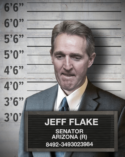 A photograph of Jeff Flake, wearing a suit. He has been photoshopped over an image of a police lineup wall.