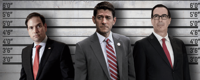 A photoshopped image of Marco Rubio, Paul Ryan, and Steve Mnuchin standing in a row. They are all wearing suits. They've been photoshopped in front of a police lineup wall.