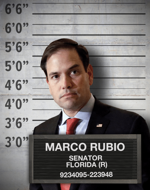 A photograph of Marco Rubio, wearing a suit. He has been photoshopped over an image of a police lineup wall.