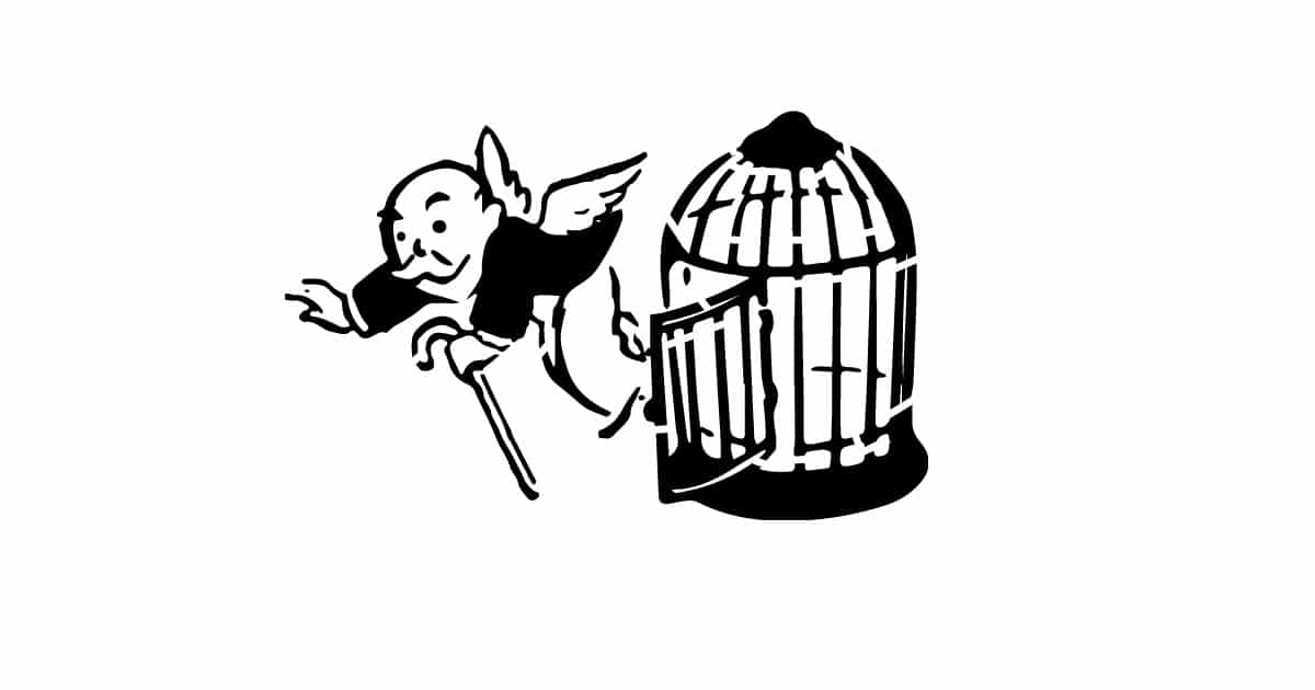 An illustration of a mustachioed man in a suit, holding a cane. He is flying out of an open cage behind him.