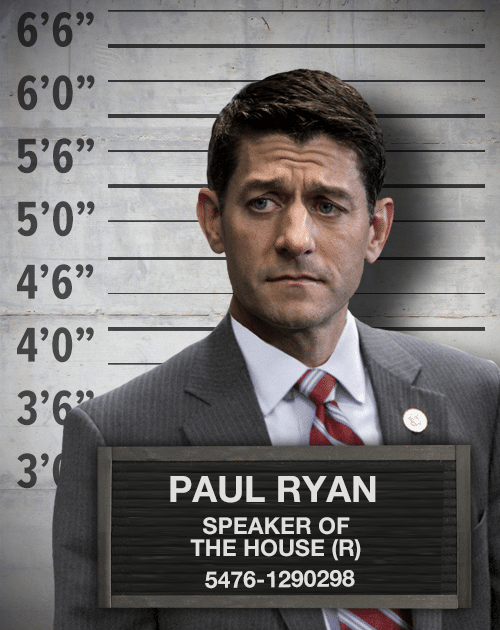 A photograph of Paul Ryan, wearing a suit. He has been photoshopped over an image of a police lineup wall.
