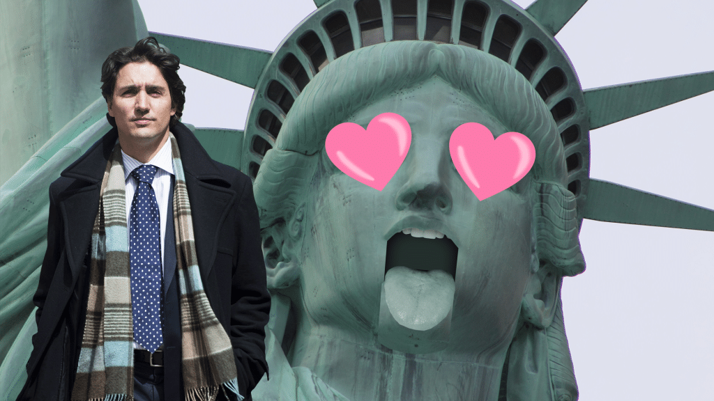 A photoshopped image of the head of the state of liberty, with cartoon hearts over her eyes. At left is Justin Trudeau. He is wearing a coat and looking serious.