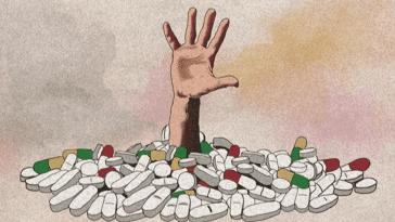 an illustration with a watercolor background of pastels. Bottom center is a big pile of pills of different shapes and colors. A hand is emerging from the center of the pills, like someone is drowning in it
